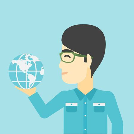 flat earth: An asian  young businessman holding Earth globe in hand. Concept of global business. Vector flat design illustration. Square layout.
