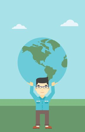 An asian  young businessman holding a big Earth globe over his head. Concept of global business. Vector flat design illustration. Vertical layout.