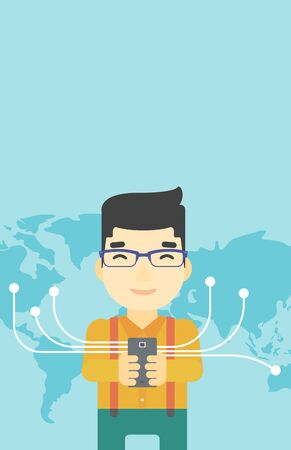 An asian  young businessman holding smartphone connected with the whole world. Concept of global business. Vector flat design illustration. Vertical layout. Illustration