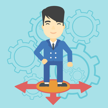 career choices: An asian  man standing on three alternative ways on a blue background with cogwheels. Concept of career choices. Vector flat design illustration. Square layout.