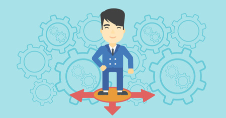 An asian  man standing on three alternative ways on a blue background with cogwheels. Concept of career choices. Vector flat design illustration. Horizontal layout. Illustration