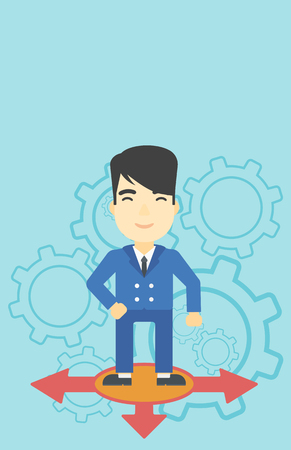 An asian man standing on three alternative ways on a blue background with cogwheels. Concept of career choices. Vector flat design illustration. Vertical layout.