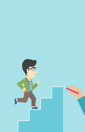 career up: An asian businessman running up the stairs drawn by hand with pencile. Concept of business career. Vector flat design illustration. Vertical layout.