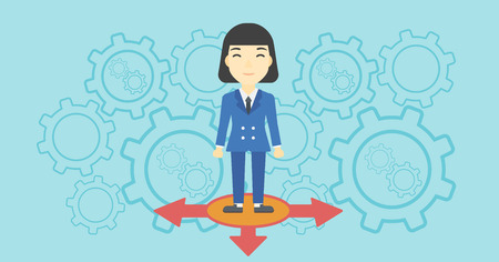 career choices: An asian  young woman standing on three alternative ways on a blue background with cogwheels. Concept of career choices. Vector flat design illustration. Horizontal layout. Illustration