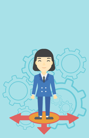 career choices: An asian  young woman standing on three alternative ways on a blue background with cogwheels. Concept of career choices. Vector flat design illustration. Vertical layout. Illustration