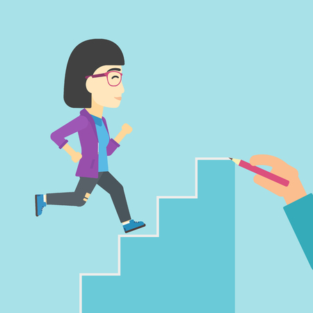 career up: An asian  young business woman running up the stairs drawn by hand with pencile. Concept of business career. Vector flat design illustration. Square layout.