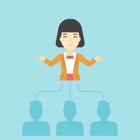 Three employees linked with an asian business woman. Young business woman choosing employee. Concept of searching for stuff. Vector flat design illustration. Square layout.