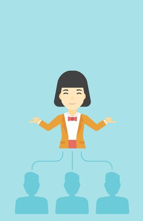 asian business woman: Three employees linked with an asian business woman. Young business woman choosing employee. Concept of searching for stuff. Vector flat design illustration. Vertical layout.