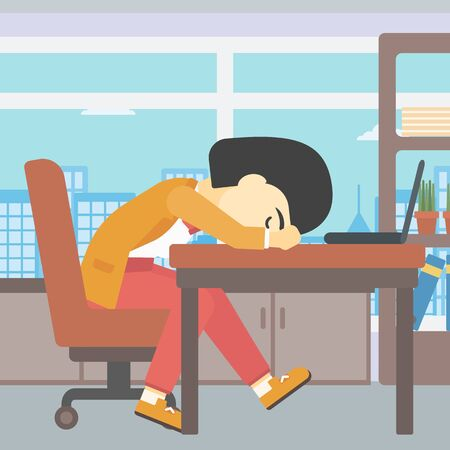 An asian  tired business woman sleeping on laptop keyboard in the office. Young business woman resting at workplace. Vector flat design illustration. Square layout.