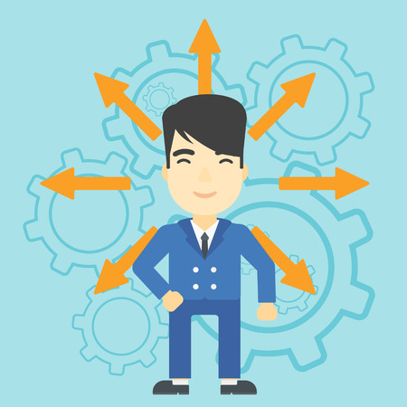 An asian  man with many arrows around his head standing on background with cogwheels. Concept of career choices. Vector flat design illustration. Square layout. Illustration