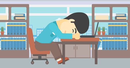 overwork: An asian  tired businessman sleeping on laptop keyboard in the office. Businessman resting at workplace. Vector flat design illustration. Horizontal layout.