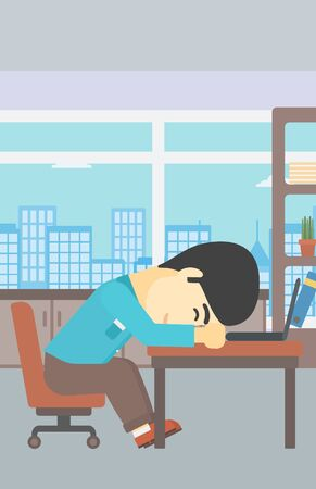 asian man laptop: An asian  tired businessman sleeping on laptop keyboard in the office. Businessman resting at workplace. Vector flat design illustration. Vertical layout.