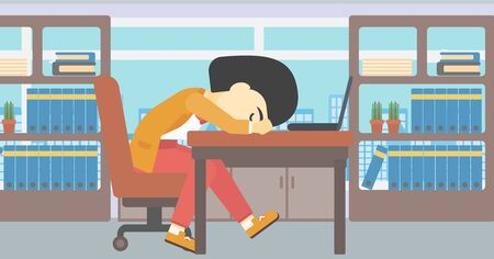 An asian  tired business woman sleeping on laptop keyboard in the office. Young business woman resting at workplace. Vector flat design illustration. Horizontal layout. 矢量图像