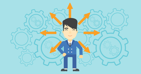 career choices: An asian  man with many arrows around his head standing on background with cogwheels. Concept of career choices. Vector flat design illustration. Horizontal layout.