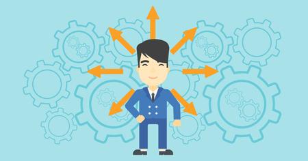 Ein asiatischer Mann mit vielen Pfeilen um seinen Kopf mit Zahnrädern auf Hintergrund. Konzept der Berufswahl. Vector flache Design-Illustration. Horizontal-Layout.