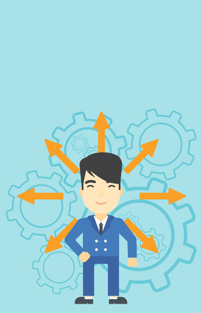 career choices: An asian  man with many arrows around his head standing on background with cogwheels. Concept of career choices. Vector flat design illustration. Vertical layout.