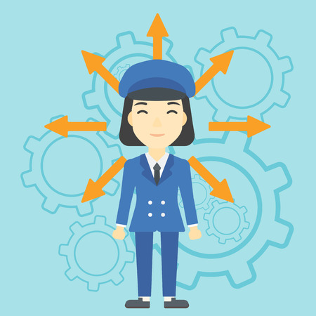 hesitate: An asian  young woman with many arrows around her head standing on a blue background with cogwheels. Concept of career choices. Vector flat design illustration. Square layout. Illustration