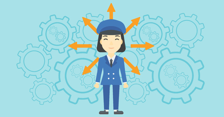 An asian  young woman with many arrows around her head standing on a blue background with cogwheels. Concept of career choices. Vector flat design illustration. Horizontal layout. Illustration