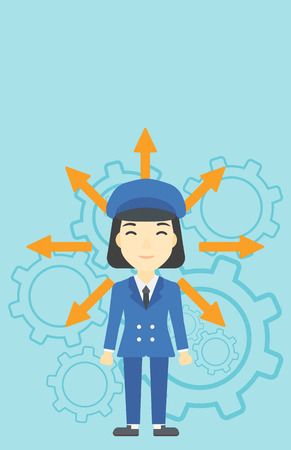 career choices: An asian  young woman with many arrows around her head standing on a blue background with cogwheels. Concept of career choices. Vector flat design illustration. Vertical layout.
