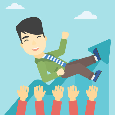 arms lifted up: An asian young businessman get thrown into the air by coworkers during celebration. Successful business concept. Vector flat design illustration. Square layout.
