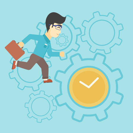 lateness: An asian young businessman with briefcase running on a blue background with clock and cogwheels. Vector flat design illustration. Square layout.