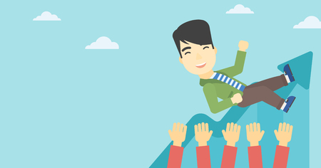 arms lifted up: An asian young businessman get thrown into the air by coworkers during celebration. Successful business concept. Vector flat design illustration. Horizontal layout.