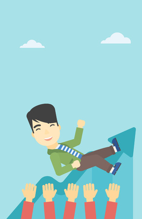 arms lifted up: An asian young businessman get thrown into the air by coworkers during celebration. Successful business concept. Vector flat design illustration. Vertical layout.