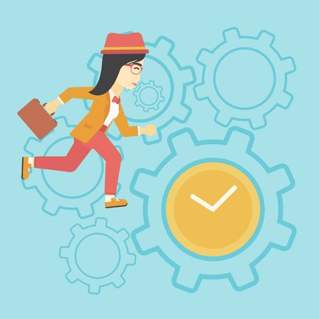 An asian young business woman with briefcase running on a blue background with clock and cogwheels. Vector flat design illustration. Square layout.