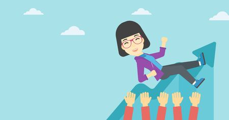 coworkers: An asian young business woman get thrown into the air by coworkers during celebration. Successful business concept. Vector flat design illustration. Horizontal layout. Illustration