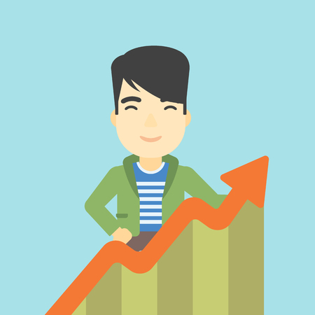 increasing: An asian young happy businessman standing behind growing chart on a blue background. Successful business concept. Vector flat design illustration. Square layout.