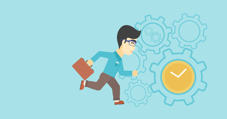 An asian  young businessman with briefcase running on a blue background with clock and cogwheels. Vector flat design illustration. Horizontal layout.