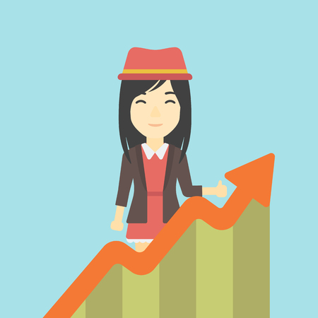 business woman standing: An asian young happy business woman standing behind growing chart. Successful business concept. Vector flat design illustration. Square layout. Illustration