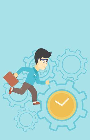 lateness: An asian  young businessman with briefcase running on a blue background with clock and cogwheels. Vector flat design illustration. Vertical layout. Illustration