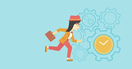 lateness: An asian  young business woman with briefcase running on a blue background with clock and cogwheels. Vector flat design illustration. Horizontal layout. Illustration