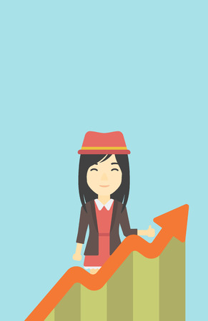 An asian young business woman standing behind growing chart on a blue background. Successful business concept. Vector flat design illustration. Vertical layout.