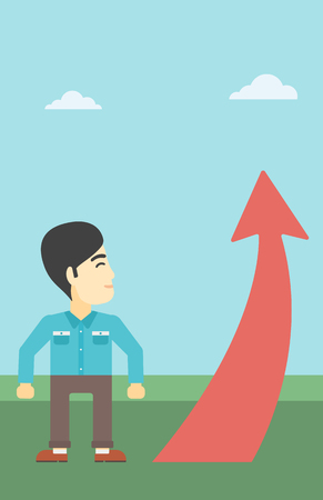 An asian  young businessman looking at a red arrow going up. Successful business concept. Vector flat design illustration. Vertical layout. Illustration