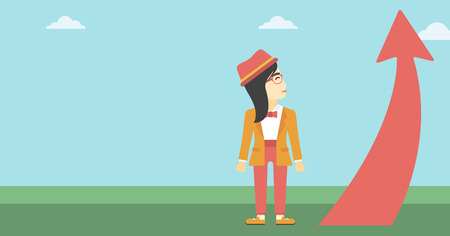 An asian  young business woman looking at a red arrow going up. Successful business concept. Vector flat design illustration. Horizontal layout. Illustration