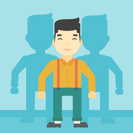 stand out from the crowd: An asian young man standing with some shadows behind him. Candidat for a position stand out from crowd. Concept of staff recruitment. Vector flat design illustration. Square layout.