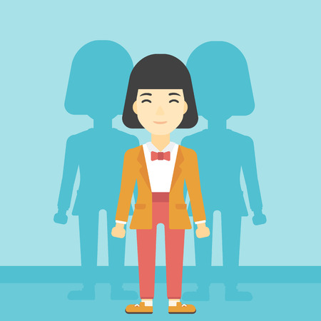 stand out from the crowd: An asian young woman standing with some shadows behind her. Candidat for a position stand out from crowd. Concept of staff recruitment. Vector flat design illustration. Square layout.