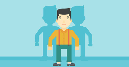 stand out from the crowd: An asian  young man standing with some shadows behind him. Candidat for a position stand out from crowd. Concept of staff recruitment. Vector flat design illustration. Horizontal layout.