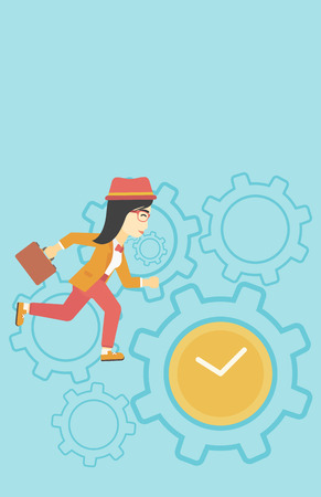 An asian  young business woman with briefcase running on a blue background with clock and cogwheels. Vector flat design illustration. Vertical layout.