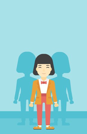 stand out from the crowd: An asian  young woman standing with some shadows behind her. Candidat for a position stand out from crowd. Concept of staff recruitment. Vector flat design illustration. Vertical layout. Illustration