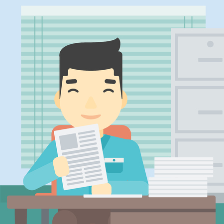 An asian young human resources manager reading application portfolios in the office. Concept of recruitment of staff, job interview. Vector flat design illustration. Square layout.