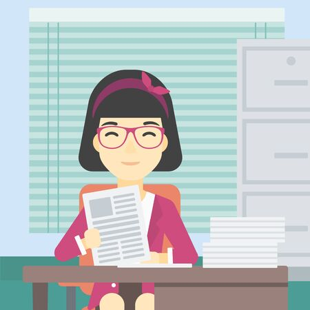 asian manager: An asian human resources manager reading application portfolios in the office. Concept of recruitment of staff, job interview. Vector flat design illustration. Square layout.