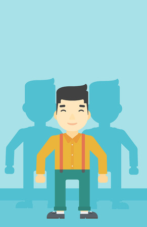 stand out from the crowd: An asian  young man standing with some shadows behind him. Candidat for a position stand out from crowd. Concept of staff recruitment. Vector flat design illustration. Vertical layout.