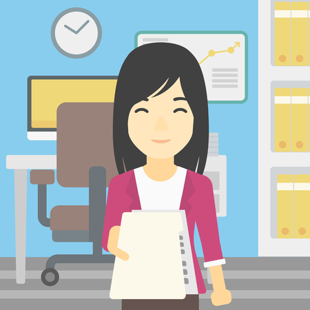 employer: An asian young business woman giving a resume in office. Woman giving to the employer her curriculum vitae. Job interview concept. Vector flat design illustration. Square layout. Illustration