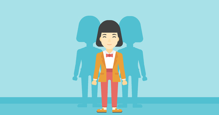 stand out from the crowd: An asian  young woman standing with some shadows behind her. Candidat for a position stand out from crowd. Concept of staff recruitment. Vector flat design illustration. Horizontal layout.