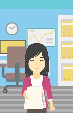 employer: An asian  young business woman giving a resume in office. Woman giving to the employer her curriculum vitae. Job interview concept. Vector flat design illustration. Vertical layout.