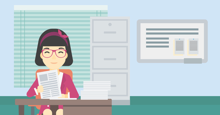 human resources manager: An asian  human resources manager reading application portfolios in the office. Concept of recruitment of staff, job interview. Vector flat design illustration. Horizontal layout.