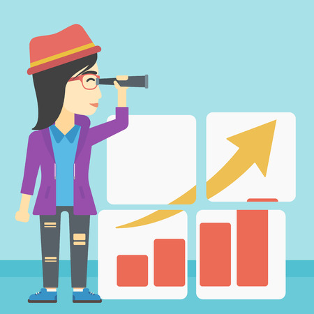 looking for: An african business woman looking through a spyglass at chart. Woman searching opportunities for business growth. Business vision concept. Business vector flat design illustration. Square layout. Illustration